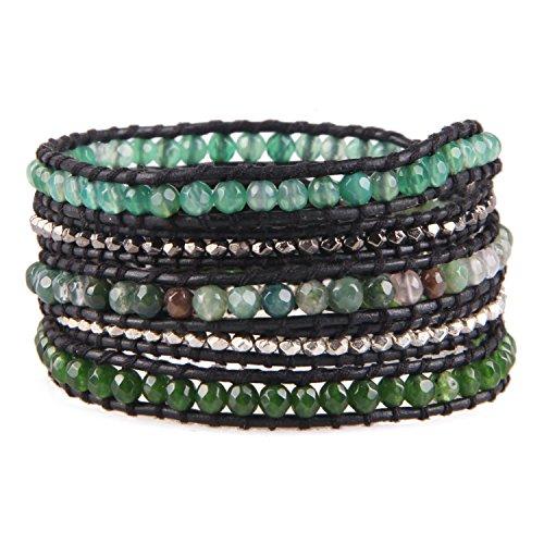 Kelitch mescolare in rilievo con metallo perline braccialetto sopra pelle 5 avvolgere braccialetto fatto a mano nuovo superiore gioielli (erba verde)