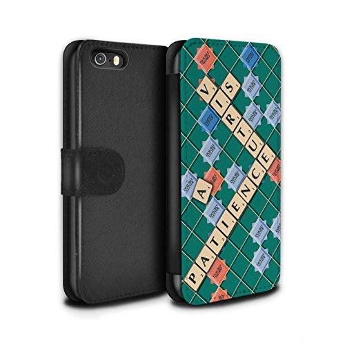 Stuff4 Coque/Etui/Housse Cuir PU Case/Cover pour Apple iPhone SE / Pack 12pcs Design / Mots de Scrabble Collection Patience Vertu