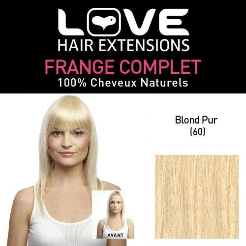 Love Hair Extensions - LHE/FRA1/QFC/CIF/60 - 100 % Cheveux Naturels - Frange Complete - Couleur 60 - Blond Pur