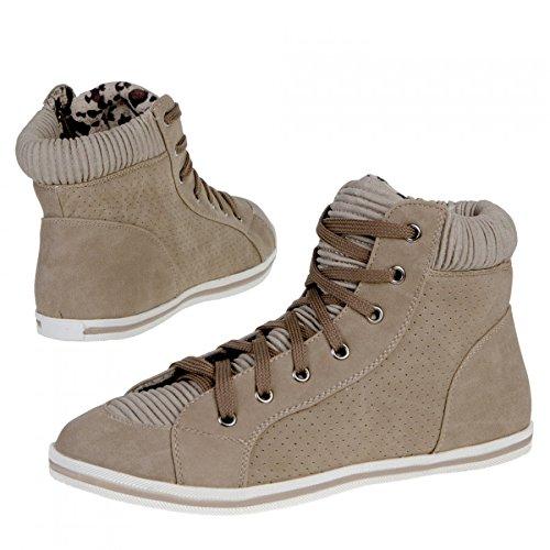 Preisvergleich Produktbild Damen Sneaker Freizeitschuh Damen Sneaker Schnuerschuhe Schuhe Turnschuhe Damenturnschuhe Halbschuhe, Farbe Khaki, Gr. 41