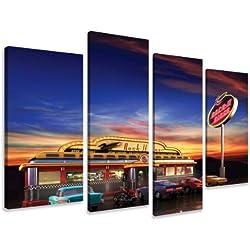 Visario 6148 - Fotografía de restaurante retro americano sobre lienzo (4 piezas, 130x80cm)