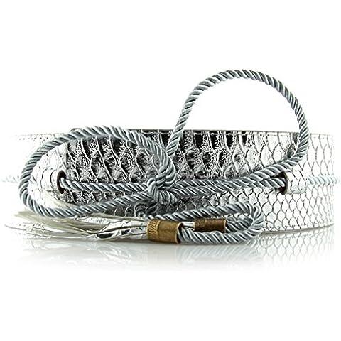 Brevetto Ladies cintura in pelle serpente/Tie cintura pendente nappa