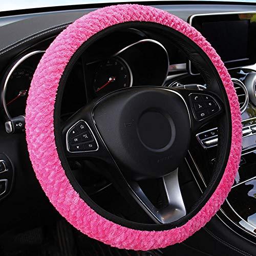 Hülle Lenkradhülle Mikrofaser Universal Plüsch Anti Rutsch geruchlos Weich Bequem Winter Lenkradbezug für Autozubehör Innenraum Deko (37-38cm),Pink