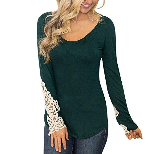 Vintage Wrangler Western Shirt (ESAILQ Frauen Schulterfrei Lace Top Langarm Bluse Damen Casual Tops Shirt (XL, Grüne-1))