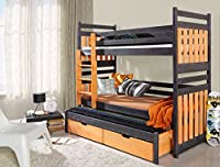 Bunk Bed SAMBOR, Children Triple Bunk Bed - Pine Wood - 24 Colours - 2 Sizes - 4 Types of Mattresses