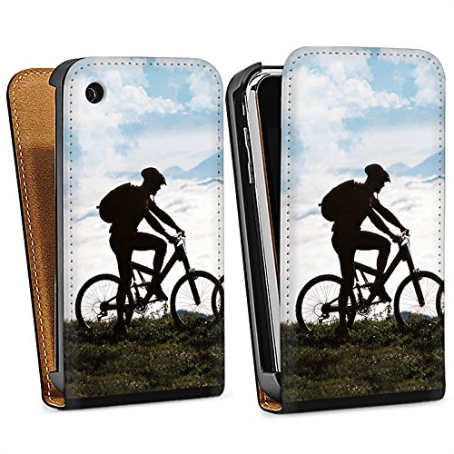 Apple iPhone 4 Housse Étui Silicone Coque Protection Bicyclette VTT Nature Sac Downflip noir