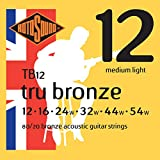 Rotosound Tru Bronze Jeu de cordes pour guitare folk 80/20 Bronze Tirant medium light (12 16 24 32 44 54) (Import Royaume Uni)