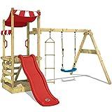 WICKEY Spielturm FunFlyer Spielhaus Kletterturm mit Schaukel Sandkasten Kletterleiter, rote Rutsche + rote Plane