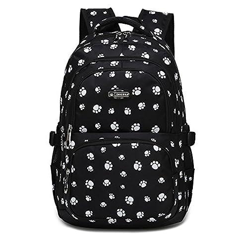 Cystyle Mädchen Schulrucksack Damen Rucksack Jugendliche Große Schultasche Outdoor Freizeit Daypack mit Modernes Muster (Schwarz)