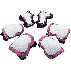 Almohadillas para niños –SKL Niño Junior–Rodilleras, coderas, muñequeras Protecciones para niño y niña Patinaje sobre ruedas patines en línea Deporte, Rosa