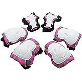 SKL 6 PCS Genouillère Coudière Protection Poignet Sets de Protection Fille pour Skateboard BMX Roller Patinage Vélo Bicyclette - Rose Rouge