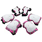 Kids Knee Pads, [2017 New Release] Protective Gear Knee Elbow Pads and Wrist Child's Pad Set for Inline Roller Skating Biking Sports Safe Guard (Pink)