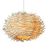 ASF15 Forma Nido d'uccello Pendant Light - Lampada a Sospensione in Rattan Naturale LED - Lampadario 220V Home Cafe Bar Hanging Luce di soffitto E27 (Senza Lampadina) (Color : B, Size : 40 * 25cm)