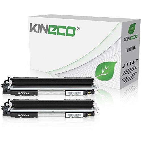 2 Kineco Toner kompatibel zu HP CF350A Color Laserjet Pro MFP M176n, M177fw, M170 Series - Schwarz je 1.300 Seiten -