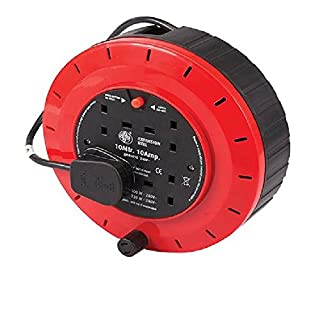 10M EXTENSION CABLE REEL LEAD 4 WAY SOCKET ELECTRICAL HEAVY DUTY 10 AMP METRE BLUE/RED