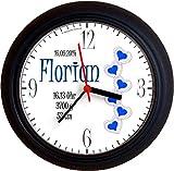 Lucky Clocks KINDERHERZ Blau Taufe Geburt Wanduhren für Jeden Anlass mit jeder Beschriftung und Jedem Vornamen Namen erhältlich