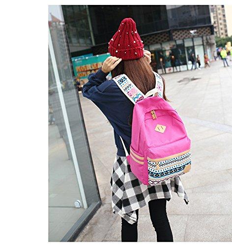 Fashion Mädchen Schulrucksack Damen Canvas Rucksack Teenager Baumwollstoff Schultasche Outdoor Freizeit Daypacks mit Schicker Lace Rose Red