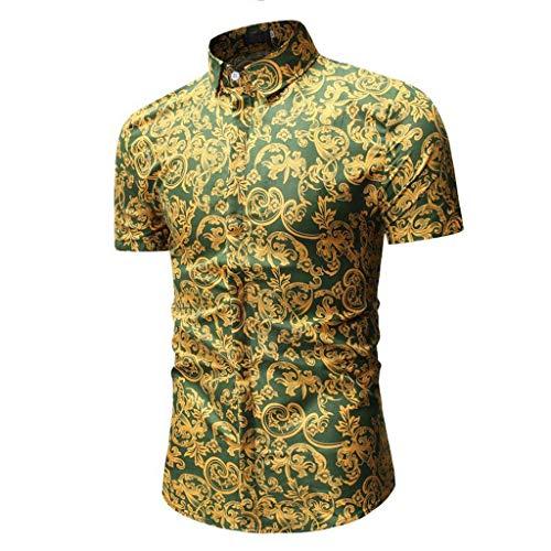 CICIYONER Herren Hawaiihemd Hawaiishirt Urlaub Hemd Strandhemd Freizeithemd Hawaii-Print mit Kurzarm Schwarz Blau Rot Grün M L XL XXL XXXL - Creme Seersucker