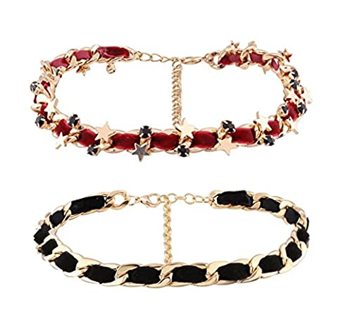 Caiyan Two-piece set of stars knit necklace earrings , red black