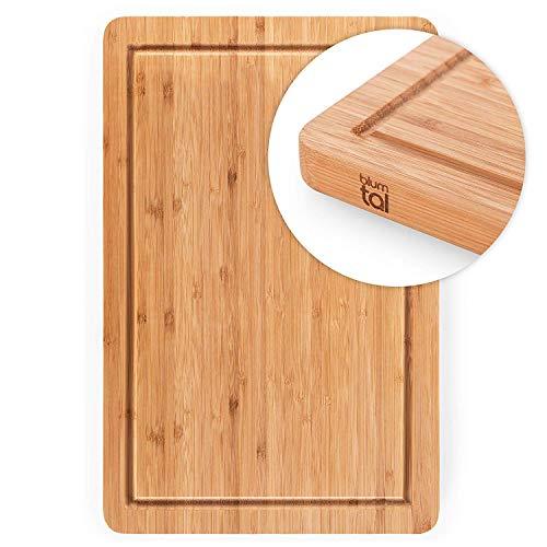 Blumtal Schneidebrett aus 100% Bambus - antiseptisches Holz-Brett mit Saftrille, Holz-Brettchen, 45x30x2cm Holz Brett