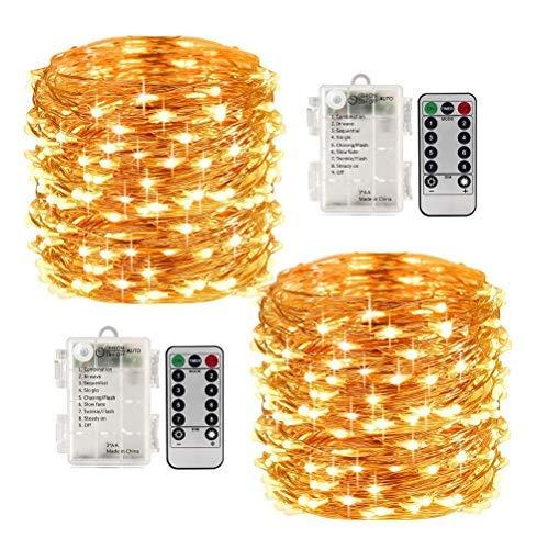 LED Lichterketten x 2 Dimmable 100LEDs 10M mit Fernbedienung Batteriebetrieben Wasserdichte Dekorative 8 Modi Warme Weiße Lichter für Schlafzimmer Garten Terrasse Party Hochzeit (LED Lichterketten)