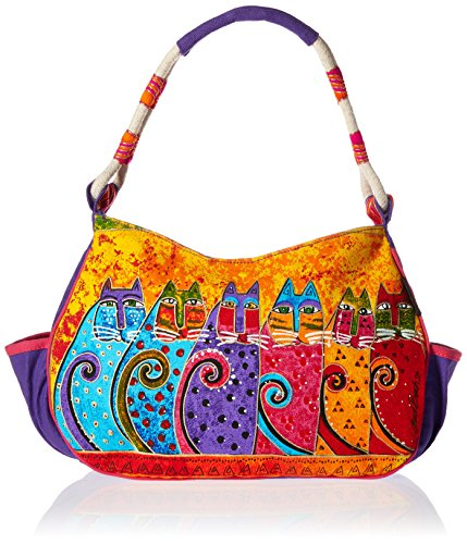 laurel-burch-laurel-burch-medium-hobo-zipper-top-11-1-2-inch-by-4-inch-by-9-inch-feline-tribe