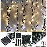 Lichtervorhang Solar Außen 2m x2m,Vorhang Lichterkette,8 Modus,200 LED Wand Fenster Hintergrund Dekor Lichterketten für Party Zuhause Garten...