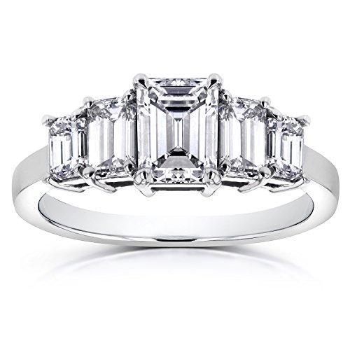 Esmeralda anillo de compromiso 21/3quilates de diamantes en platino (Certificado) _ 5,5