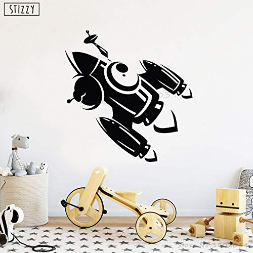 yaoxingfu Wall Decal Rocket Pattern Spaceship Wall Stickers for Kids Room Baby Nursery Bedroom Decoration Modern Space Decor Yellow 57x58cm