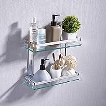 UMI. Essentials Bathroom Glass Shelf 2 Tier Tempered Glass Rectangular Double Deck Aluminum Silver Sand Sprayed Wall Mounted, A4126B
