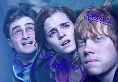 Harry Potter & The Deathly Hallows Part 2 Signed PP by 3 Cast Daniel Radcliffe Emma Watson Rupert Grint 12x8 Poster Photo by 5 Star Prints