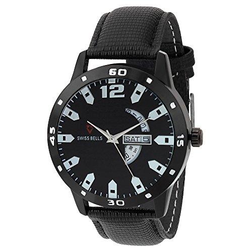 Svviss Bells Original Black Dial Black Genuine Leather Strap Day and Date Chronograph Men's Wrist Watch - TA-968