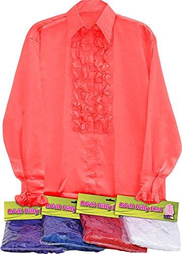 Austin Powers Rot Kostüm - Classic 1970er Fancy Kleid Party Austin Powers Satin-Shirt und Rüschen Sortiert UK, Rot