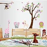 WallStickersDecal® Dschungel Wald Zoo mit Affen spielen auf Baum Wand Wandtattoo Wandaufkleber(Löwen, Giraffen, Zebras, Elefanten) (Stil B)