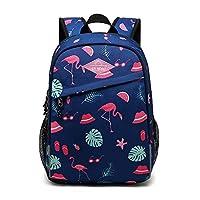 Tofern School Backpack Graffiti Design Ergonomic Anti-Shock Laptop Tablet Girl Boy Children School Travel Leisure Flamant