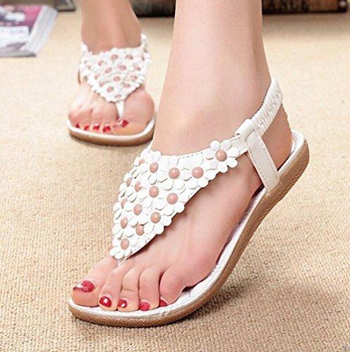 YOUJIA Frauen Runde Toe Schuhe Bohemia Mode Blume Perlen Flip-Flops Sandalen #1 Weiß
