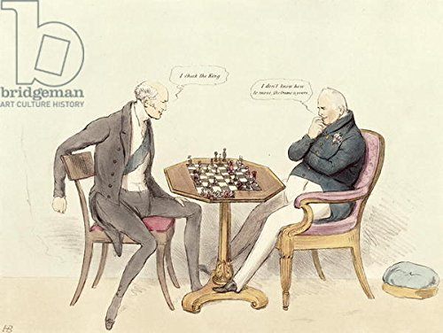 "Leinwand-Bild 50 x 40 cm: ""Ms 435a3 pl.215 A Game of Chess; Lord Grey (1764-1845) playing chess with William IV (1765-1837) during the Reform Bill controversy from Doyles Political Sketches, 1832 (print)\"", Bild auf Leinwand"