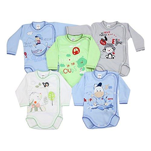 5er Pack Wickelbodys mit Aufdruck Mädchen Langarm Body Baby Bodys Set Jungen 100% Baumwolle, Farbe: Junge, Größe: 68