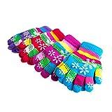 BiiYo Autumn Winter Children Bi-layer Thickened Snow Print Colored Yarn Knit Gloves