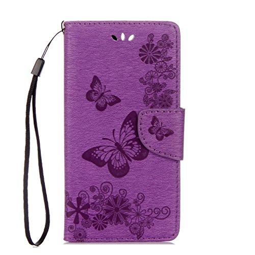 ISAKEN Compatibile con Huawei P10 Plus Custodia, Libro Sbalzato Embossed Case Wallet Cover in Pelle PU Protettiva Flip Portafoglio Caso con Supporto di Stand/Carte Slot/Chiusura - Farfalla: Violet