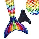 Fin Fun Mermaid Tail verstärkte Tipps, mit Monoflosse, Rainbow Reef, Größe Erwachsene XS