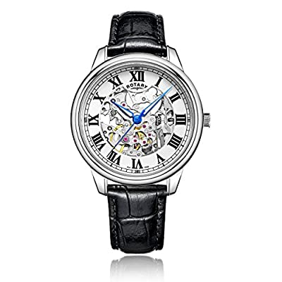 Rotary Men's Automatic Watch with White Dial Analogue Display and Black Leather Strap GS00654/01