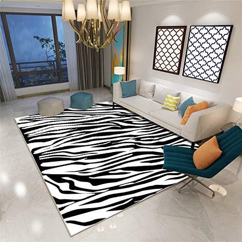 ch Schwarz und Weiß Zebrastreifen 3D Gedruckter Teppich mit hoher Dichte Geeignet für Familien Wohnzimmer Schlafzimmer, 80 cm (H) X 160 cm (W) ()