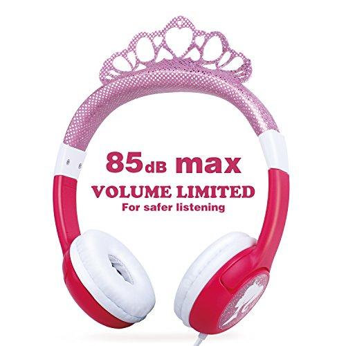 OneOdio Kinderkopfhörer mit Lautstärkebegrenzung 85dB, Mädchen Prinzessin Kinder Kopfhörer ab 3 Jahre, on Ear Headset 3.5mm Kabelgebundene Leicht Kopfhoerer, (Pink)