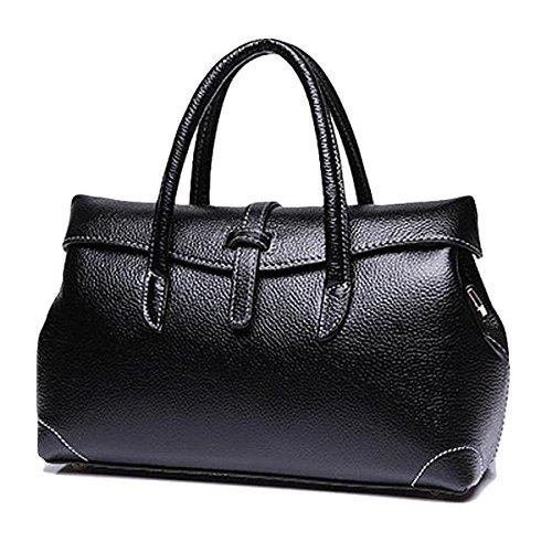 jieway di pelle per donna Custodia di pelle borsa sportiva per Donna Boston Borsa Borsa di spalla nero