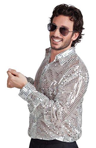 Karneval-Klamotten Paillettenhemd Disco-Hemd Pailletten Silber Herren-Hemd Karneval Herrenkostüm Größe 52/54 (Hemd Glitzer Disco)
