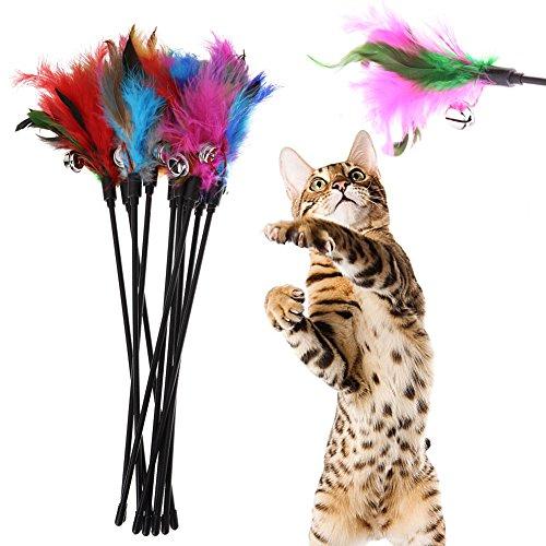 Juguete gato Lumanuby 4 piezas plumas largas cuerda