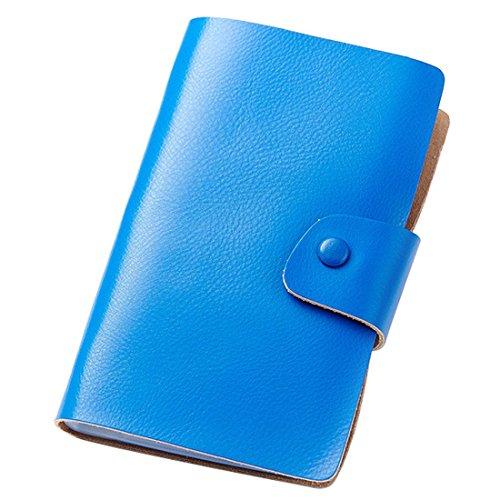 Esdrem-Biglietti da visita, in pelle, con porta carte di credito, biglietti da visita con Organizer, contiene fino a 240 biglietti blu