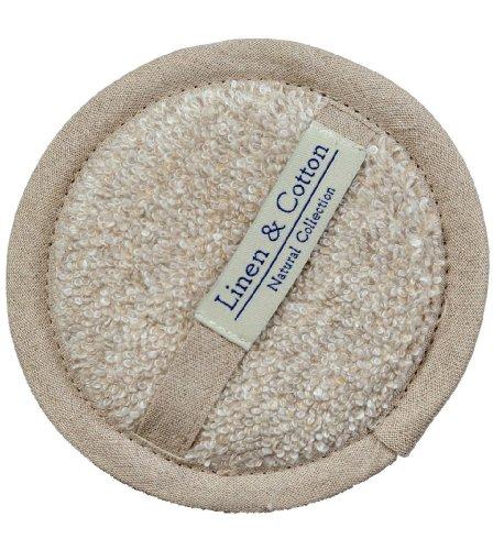 L'éponge en Lin Pour Le Corps et Visage ARIA, 60% Lin, 40% Coton - Beige/Naturel (15cm)