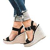Manooby Sandales Femmes Mode Espadrille Sandals Talon Compensé Plateforme Été Casual Romaines Sandals Chaussures Voyage